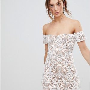 White Lace off the shoulder Mini Dress